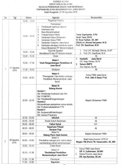 Agenda Acara